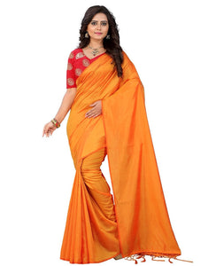e-VASTRAM Womens Plain Soft silk Tassel Saree With Unstitched Embroidered Contrast Blouse(SANAY_Yellow)