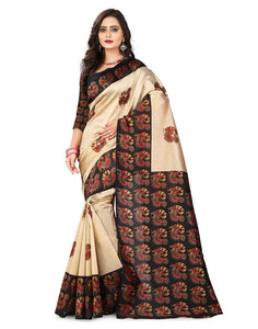 e-VASTRAM Womens Art Mysore Printed Silk(NS24BL_Black)