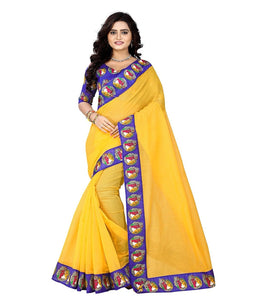 e-VASTRAM Chanderi With Kalamkari Unstitched Saree With Blouse Piece(Buddhay_Yellow,Blue Free Size)