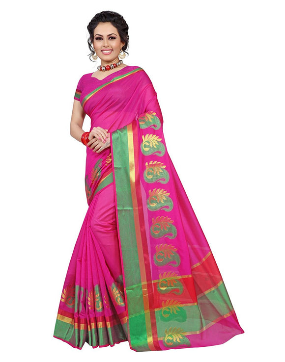 e-VASTRAM Womens Cotton silk saree (PKP_PINK)