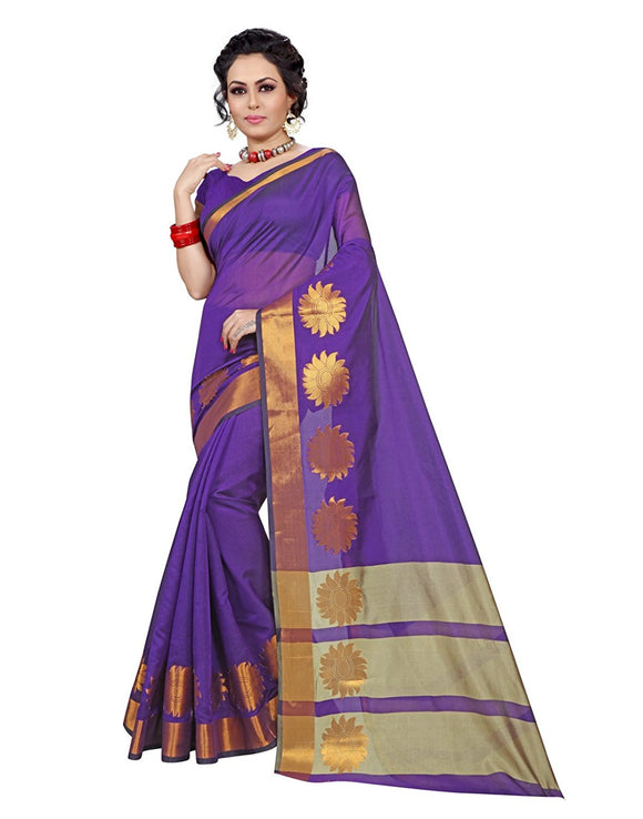 e-VASTRAM Womens Cotton silk saree (CHAKRAVIOLET_VIOLET)