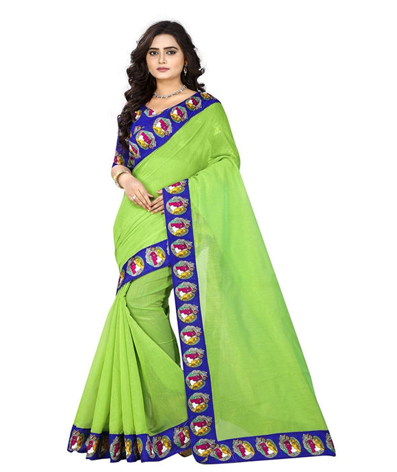 e-VASTRAM Womens Chanderi with Kalamkari Blouse and Border ,With Unstitched blouse (BUDDHAG_Green)