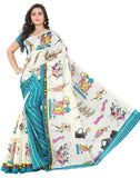 e-VASTRAM Womens Bhagalpuri Latest Half Half Printed Saree (SHERB_BLUE)