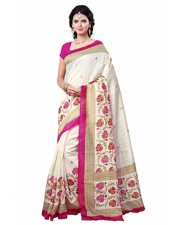 e-VASTRAM Women's Silk Saree With Blouse Piece (Angoori6_Beige)