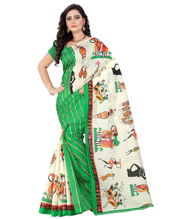 e-VASTRAM Womens Bhagalpuri Latest Half Half Printed Saree (SHER_GREEN)