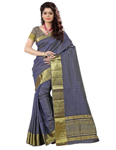 e-VASTRAM Women's Tassar Silk Saree With Zari Blouse(TAGREY_Grey)