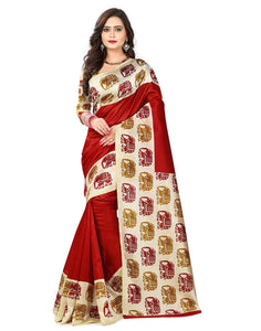 e-VASTRAM Womens Art Mysore Printed Silk(NS26R_Red)