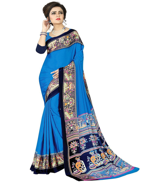 e-VASTRAM Womens Crepe Printed Art Silk Saree(V4001_Blue)