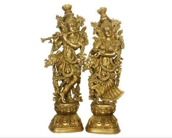 Handicraft Brass Antique Radha Krishna Idol