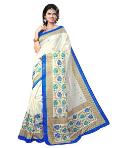 e-VASTRAM Women's Silk Saree With Blouse Piece (Angoori5_Beige)
