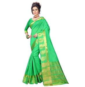 e-VASTRAM Womens Tassar Cotton Saree (COTTONMANG_GREEN)