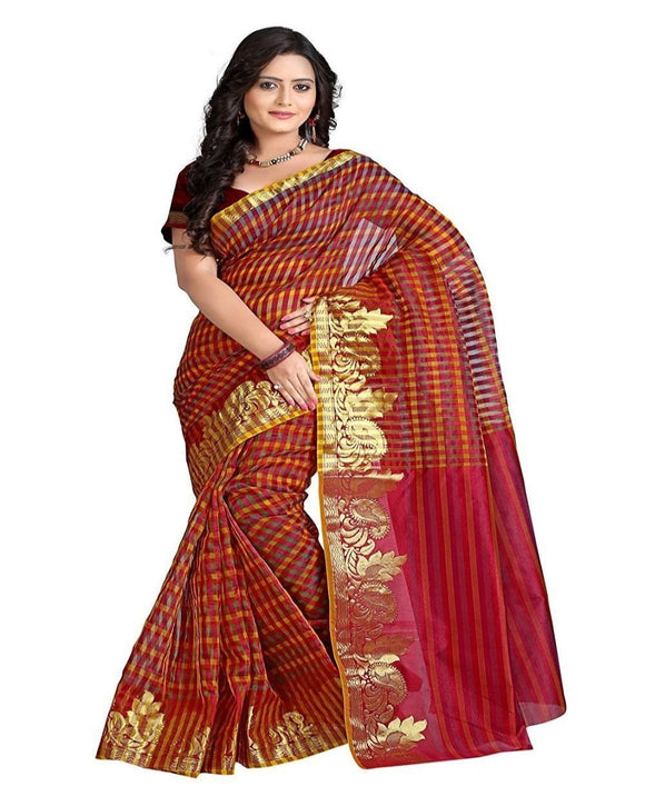 e-VASTRAM WOMENS Supernet Multi Checks Saree with Zari Skart Border