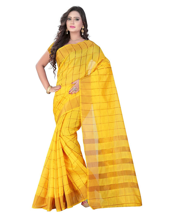 e-VASTRAM Women's Cotton Silk Saree With Blouse Piece (Monikacky_Yellow)