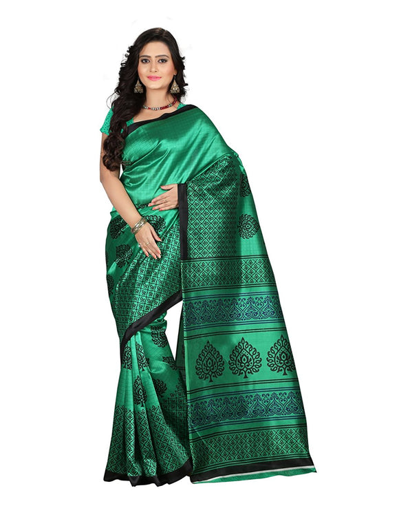 e-VASTRAM Women's Art Mysore Printed Silk(NS2D_Green)