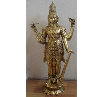 Antique Lord Vishnu Brass Standing Statue