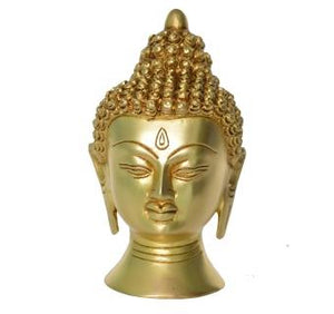Brass Buddha Head Decorative Sculpture