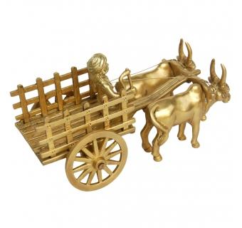 Brass Bull Cart table decor in Yellow Finish