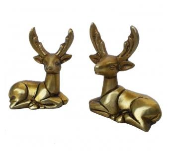Brass Deer Pair Animal Statue Home Decor Office Table Desk Use Gift-Item