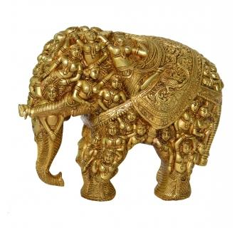 Brass Elephant Royal Statue with engraved lady figures