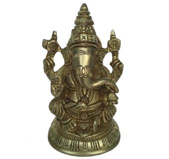 Brass Ganpati Figure Yellow Finish Brass Statue