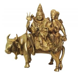 Brassware Sculpture of Lord Shiva Family Sitting on Nandi
