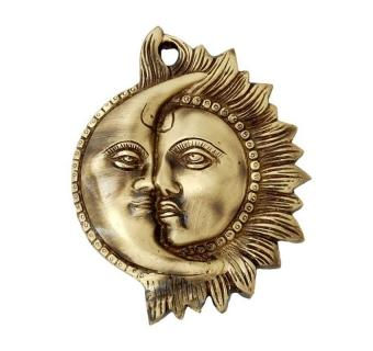 Brassware Wall Hanging of Sun and Moon Face