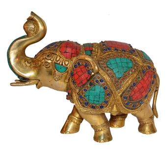 Decorative Gift of Brass made elephant with turquoise coral stone work