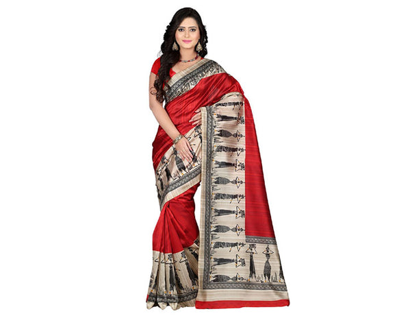 e-VASTRAM Womens Art Mysore Printed Silk(NS7B_red)