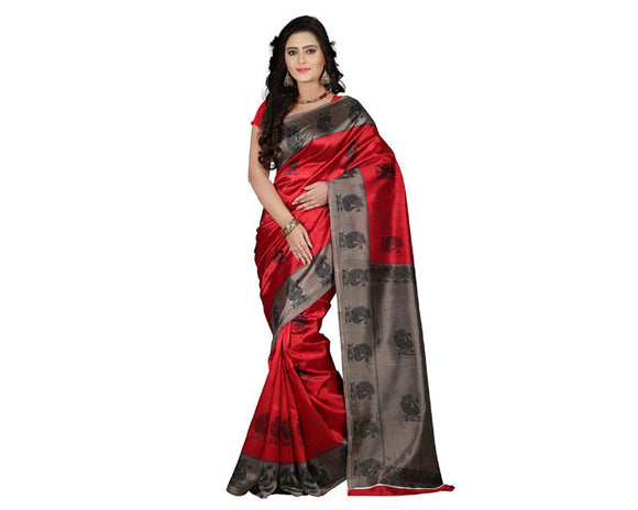 e-VASTRAM Womens Art Mysore Printed Silk(NS1D_red)