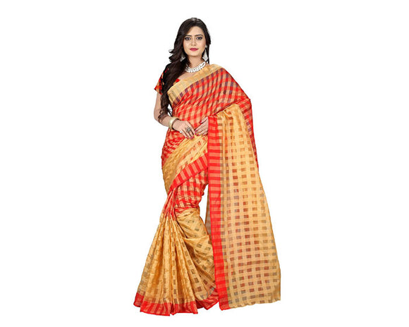 e-VASTRAM Women Cotton Silk Checks Saree(2DCHIKUM_red)