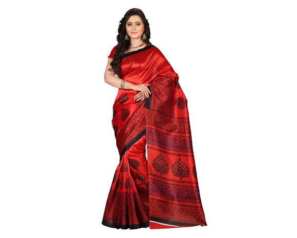 e-VASTRAM Womens Art Mysore Printed Silk(NS2B_red)
