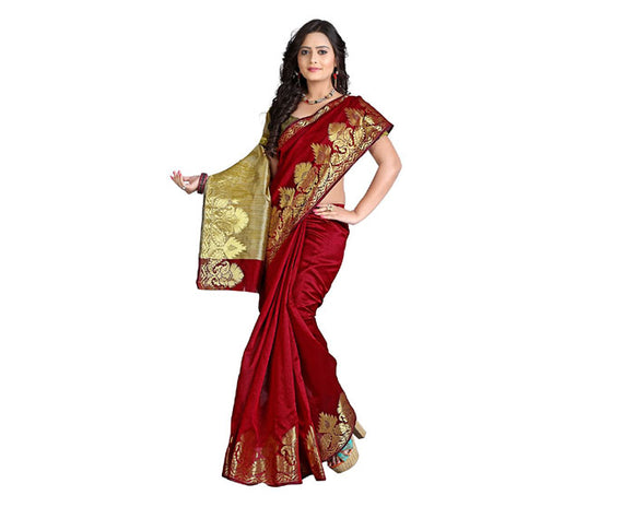 e-VASTRAM Silk Cotton Saree(NDSM_red)