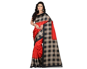 e-VASTRAM Womens Art Mysore Printed Silk(NS6B_red)