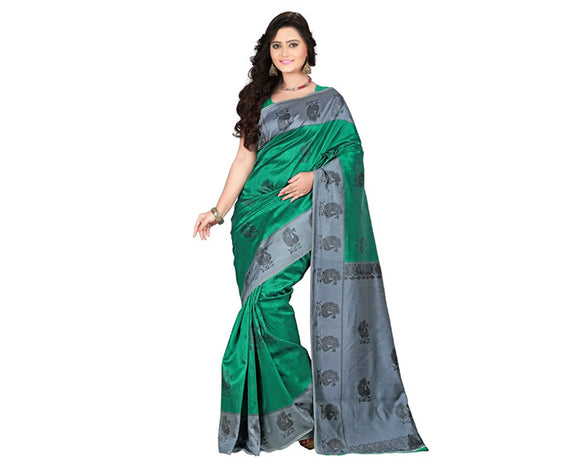 e-VASTRAM Womens Art Mysore Printed Silk(NS1C_Green)