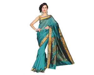 e-VASTRAM Cotton Silk Saree (Mpg _Green) for women