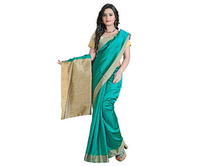 e-VASTRAM Womens Cotton Silk saree(EKPG_Green)