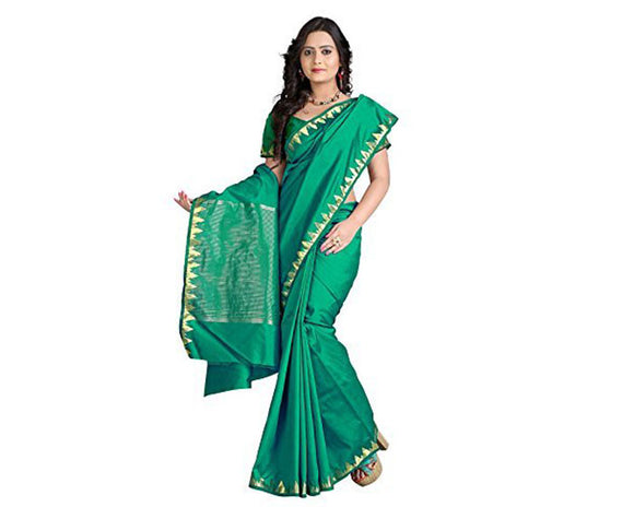 e-VASTRAM Womens Art Silk Zari Border Saree(PIPINGG_Green)