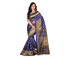 e-VASTRAM Womens Art Mysore Printed Silk(NS9A_Blue)