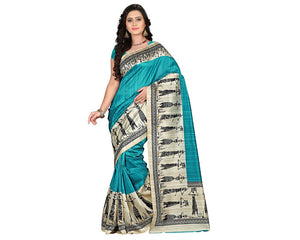 e-VASTRAM Womens Art Mysore Printed Silk(NS7D_Blue)