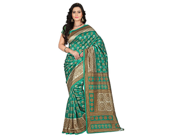 e-VASTRAM Womens Art Mysore Printed Silk(NS9C_Green)