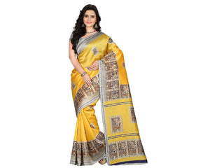 e-VASTRAM Womens Art Mysore Printed Silk(NS3D_Yellow)