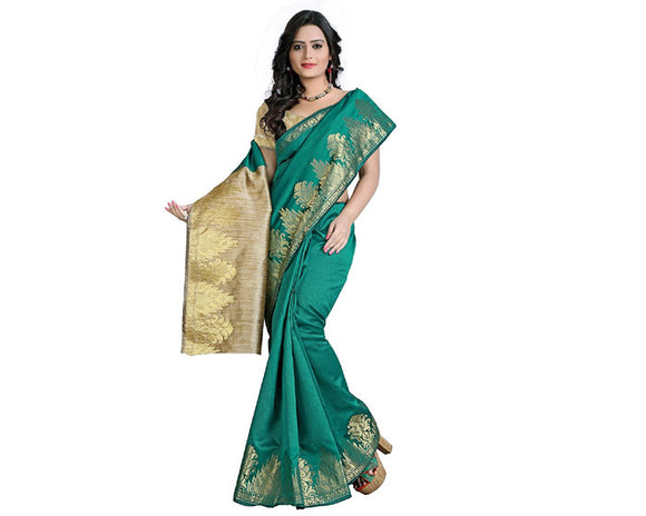 e-VASTRAM Womens Dupion Silk Zari Border Saree(EDSG_Green)