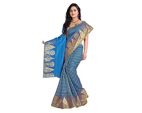 e-VASTRAM Net Saree(EMSB_Blue)