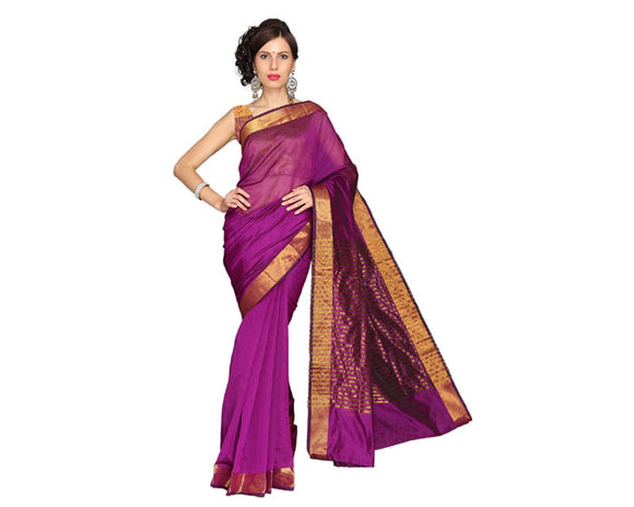 e-VASTRAM Women Chanderi Plain Saree (MPP, Pink)