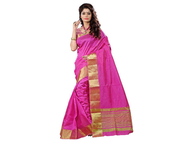 e-VASTRAM Womens Tasar Silk Saree With Zari Blouse(TAP_Pink)