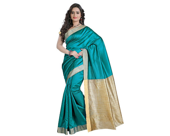 e-VASTRAM Womens Cotton Silk Saree(EKPB_Blue)