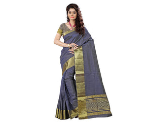 e-VASTRAM Womens Tasar Silk Saree With Zari Blouse(TAGREY_Grey)