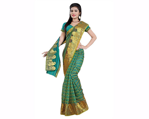 e-VASTRAM Cotton Silk Saree(EMSG_Green) for women