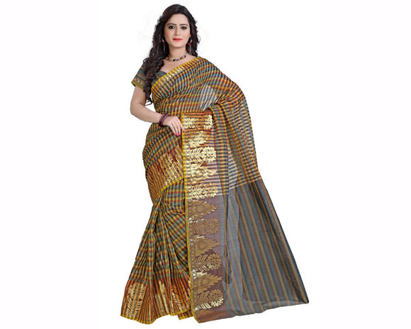 e-VASTRAM Womens Supernet zari Border Saree(MSBL_Black) for women