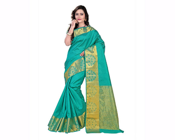 e-VASTRAM Womens Tussar Silk Self Embose Saree (KANEMBG_Green)